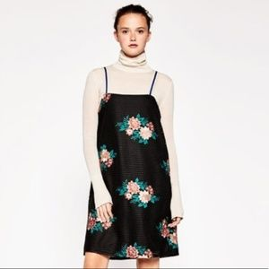 Zara Trafaluc Embroidered Floral Black Dress NWT